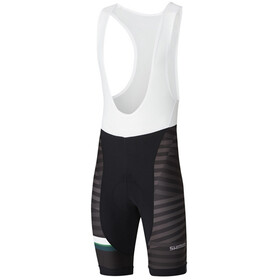 Shimano Team Bib Shorts Heren, black/green